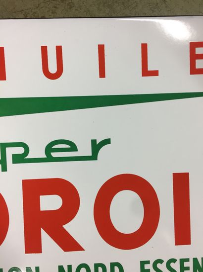 PLAQUE EMAILLEE HUILE ET SUPER NOROIL Rare enamelled plate for Oil and Super Noroil,...