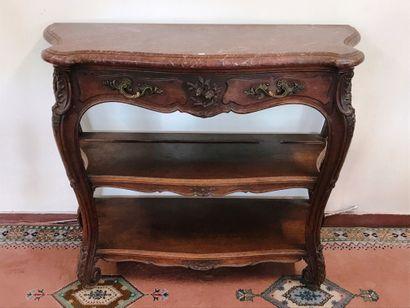 DESSERTE  de style Louis XV en noyer sculpté...