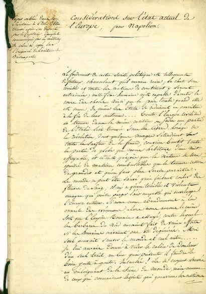 [NAPOLÉON Ier]. – Pièce manuscrite intitulée...