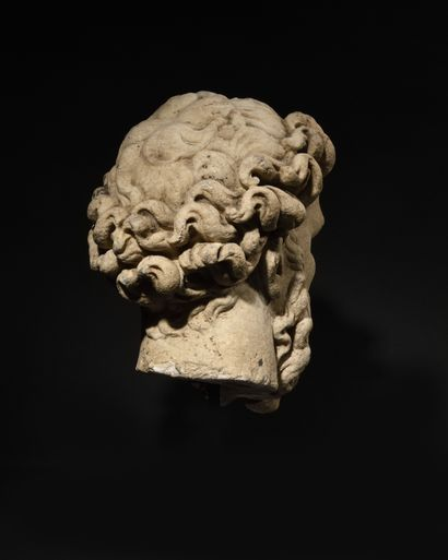 FRENCH ECOLE OF THE 16th CENTURY IN THE GOUT OF THE ANTIQUE Head of Poseidon White...
