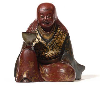 JAPON Figurine du panthéon bouddhique représentant...