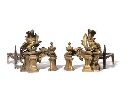 PAIRE DE CHENETS AU PERROQUET en bronze ciselé...