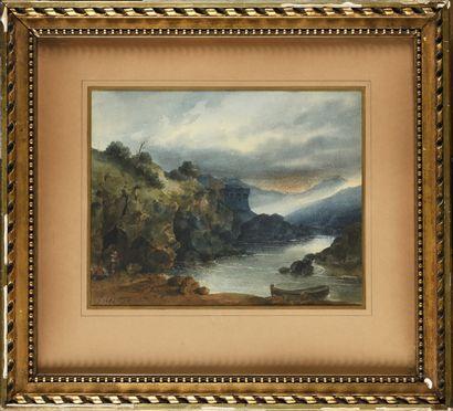 Eugène CICÉRI (1813-1890) Paysage orageux...