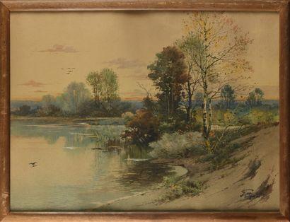Hippolyte Jean Adam GIDE (1852-1921) Au bord...