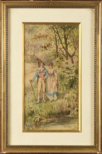 Émile HENRY (1842-1920) Couple de promeneur...