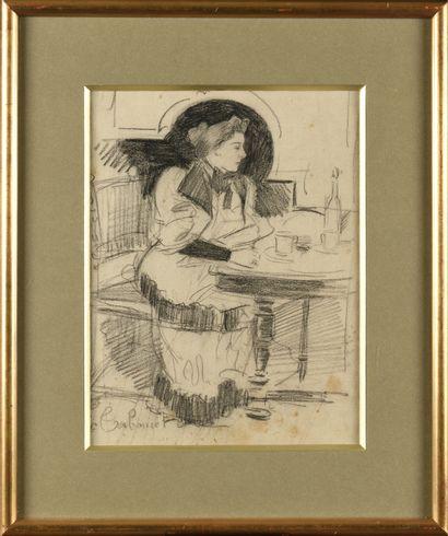 Émile TABOURET (1850-1927) Femme au café...