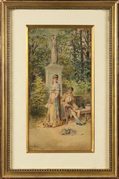 Émile HENRY (1842-1920) Scène galante Aquarelle...