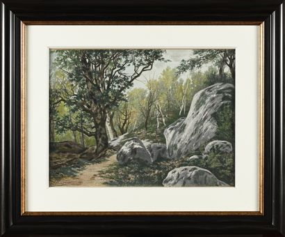 Auguste ALLONGÉ (1833-1898) Rochers en forêt...