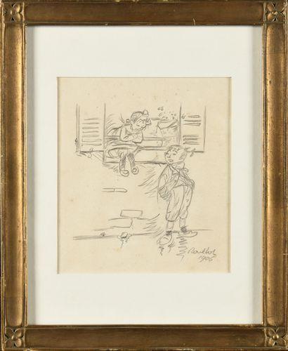 Francisque POULBOT (1879-1946) Deux enfants...