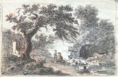 NETHER, attribué à Scène champêtre Encre...