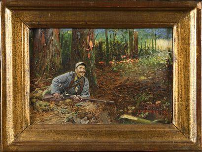 Basile LEMEUNIER (1852-1922) Soldat en forêt...