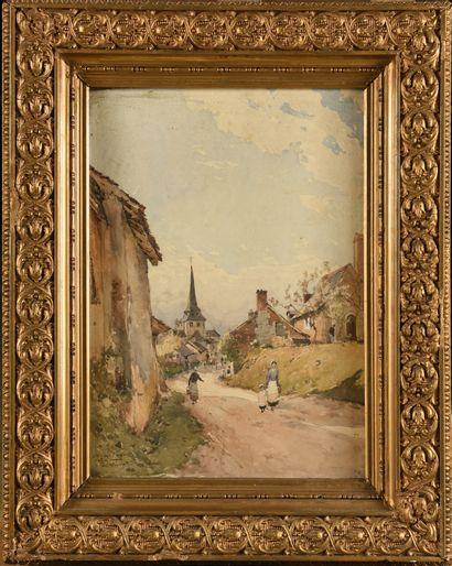 Paul LECOMTE (1842-1920) Allée de village...