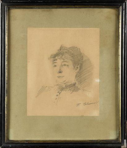 François THEVENOT (1856-?) Portrait de femme Pencil drawing, signed lower right,...