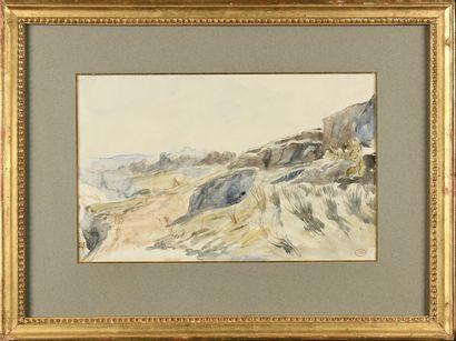 Paul HUET (1803-1869) Les romarins bleus,...