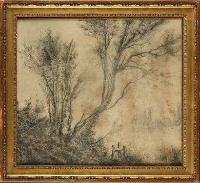 Achille DIEN (1832-?) Paysage Dessin au crayon...