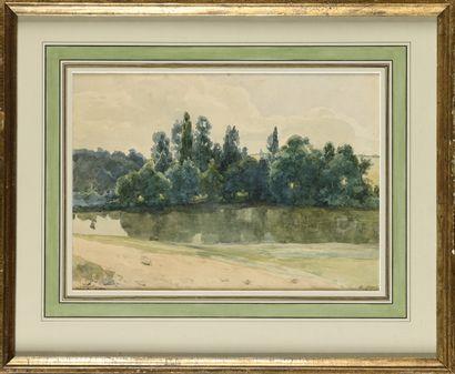 Ernest QUOST (1844-1931) Beauvilliers, étang...