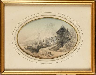 Jules Achille NOËL (1810-1881) Le port Dessin...