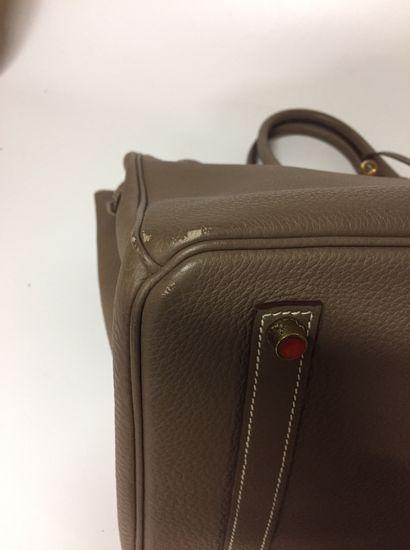 "HERMES ""Birkin"" bag 35 cm in Togo Taupe calfskin, gilded metal trim, pull tab, bell,..."