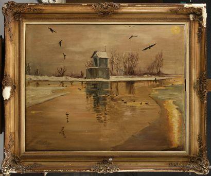 PAUL VOGLER (1852-1904) Bord de rivière sous...