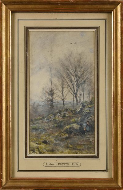 LUDOVIC PIETTE (1826-1877) Paysans se réchauffant...