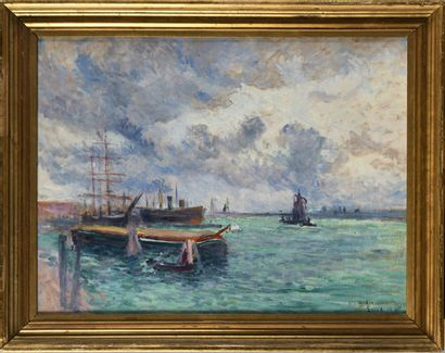 MAXIMILIEN LUCE (1858-1941) Les barges du...