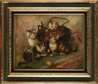 JULES LEROY (1856-1932) Les quatre chatons...