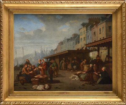 ALEXANDRE DUBOURG (1825-1891) Le marché aux...