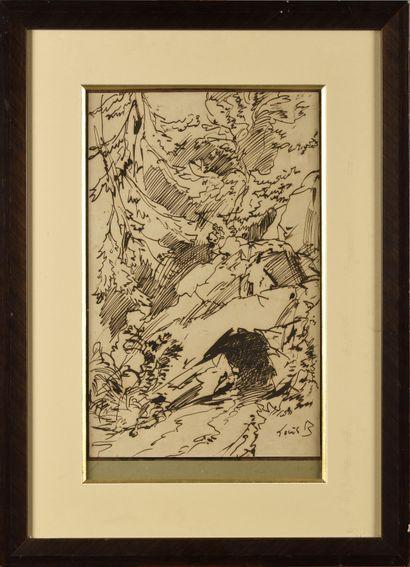 LOUIS BOULANGER (1806-1857) Rochers dans...