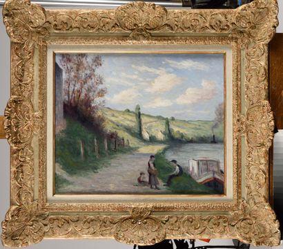 MAXIMILIEN LUCE (1858-1941) Rolleboise, halte...