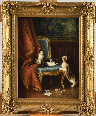 JULES LEROY (1856-1921) Les trois chatons...