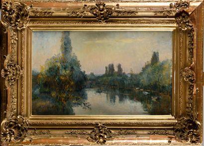 ALBERT LEBOURG (1849-1928) Barques sur la...