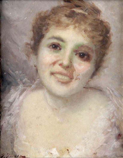 GUSTAVE JACQUET (1846-1909) Portrait de femme...