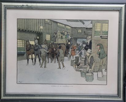 "Cécil ALDINE 1870-1935 "" SNOWED UP ON CHRISTMAS EVE "" Silk-screen print in colour...."