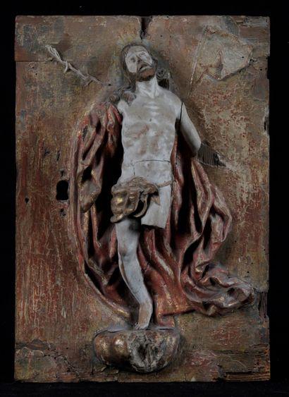 PORTE DE TABERNACLE, en bois sculpté en demi...