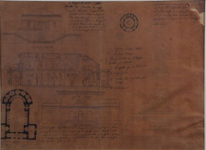 Italian school of the XIX century Architectural project for a Library. India ink...