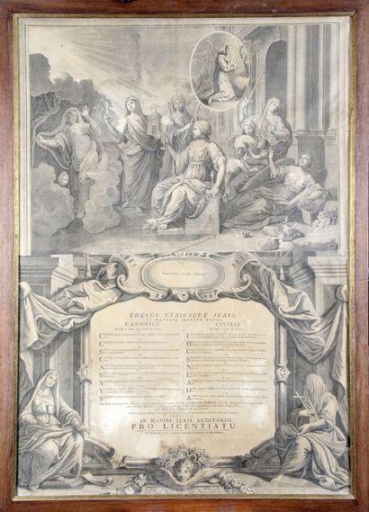 DIPLÔME DE THÈSE DE SORBONNE, 1779 Burin...