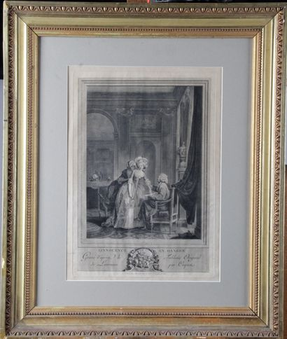 """""""L'INNOCENCE EN DANGER"""" Engraved after the work of Nicolas Lavreince by Coquet...."""