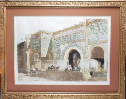 """Maurice ROMBERG DE VAUCORBEIL (1861/62-1943) """"The Bab Mansour gate in Meknes, audience..."""