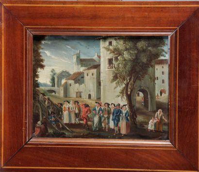 ÉCOLE FRANÇAISE, du XVII siècle. « Fête paysanne...