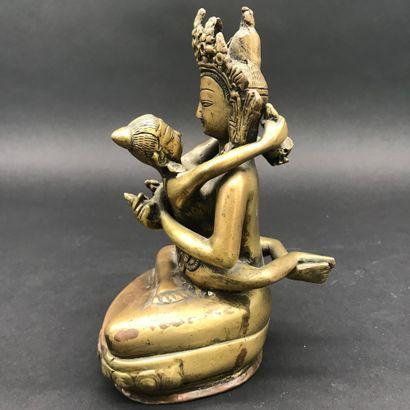 INDE  Shivah Shakti  Statuette tantrique en bronze  XXe siècle  H. 19 cm