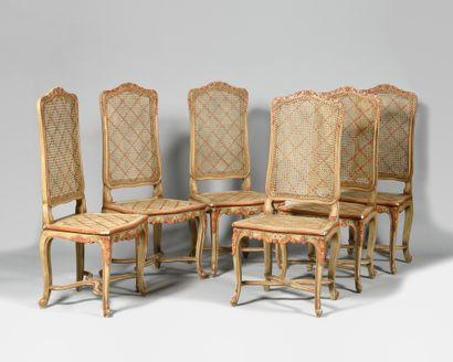 MAISON JANSEN Suite de six chaises de style...