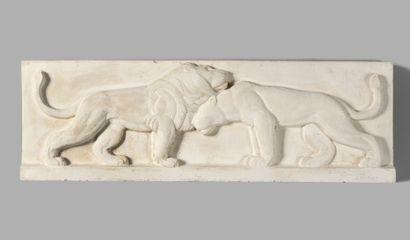 GEORGES SAUPIQUE (1889-1961) Couple de lions...