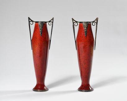 LOUIS DAGE (1885-1963) Grande paire de vases...
