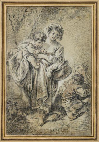 François BOUCHER (1703-1770) Femme portant...
