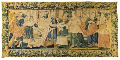 FLANDRES Rare panneau de tapisserie d'Audenarde...