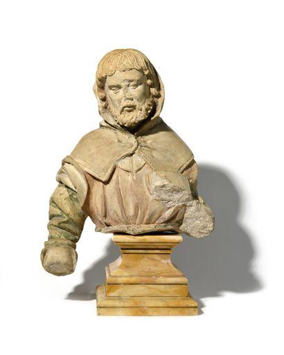 BUSTE de moine en pierre avec traces de polychromie....