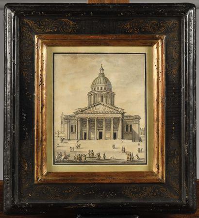ECOLE FRANÇAISE DU XVIIIe siècle Vue du Panthéon...