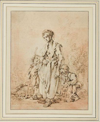 François BOUCHER (1703-1770) Mère de famille...