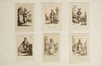 LOT DE 4 GRAVURES : 1) Un chamane de Tatares théléoutes. Gravé par E. Skotikoff....