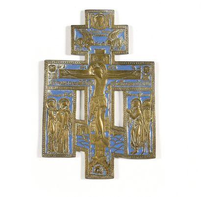 CROIX  Laiton  Russie, XIXe siècle  23 cm....